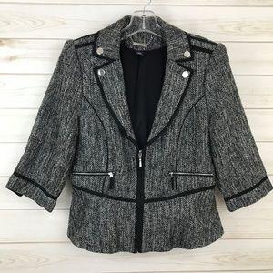 White House Black Market Black Tweed Blazer 12